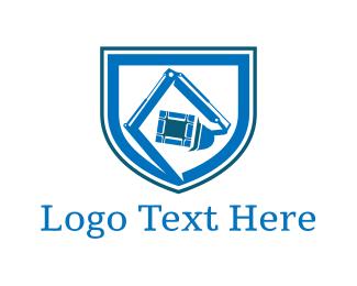 Bulldozer - Blue Excavator logo design