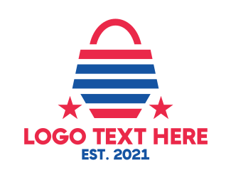 Online Shop - USA Shopping Bag logo design