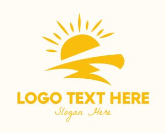 Day - Yellow Sun Thunder logo design