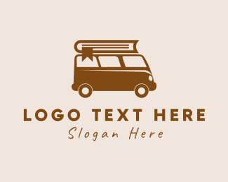 Library - Book Travel Van logo design