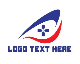 Game Community - Swoosh Eye Controller logo design
