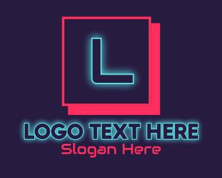 Glowing - Neon Glowing DJ Gaming Letter logo design