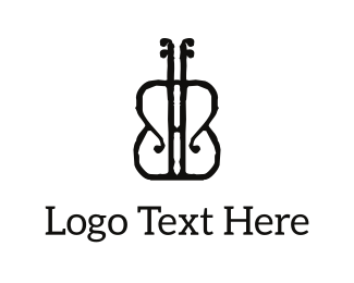 Instrument - Black Violon logo design