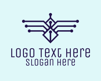 System - Blue Digital Wings logo design