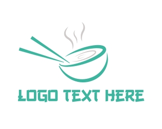 Noodles - Green Chopstick Soup logo design