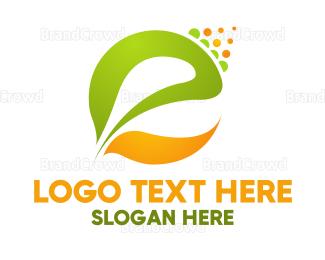Organic Food - Leaf Letter E logo design
