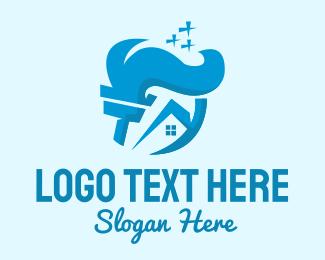 Sparkles - Blue House Sweep logo design
