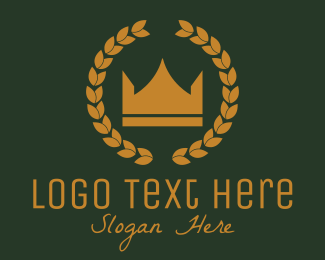 Hospitality - Gold Crown Wreath logo design