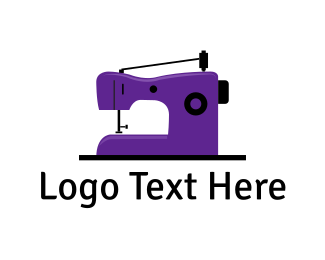 Embroidering - Purple Sewing Machine logo design