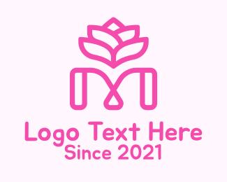 Naturalist - Pink Lotus Letter M logo design