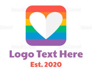 Diversity - Rainbow Box Heart logo design