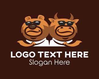 Friendship - Cool Bear & Bull  logo design
