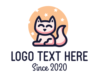 Sleep - Cute Cat  logo design