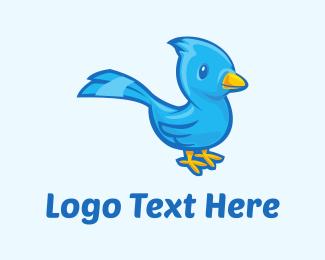 Seagull - Blue Bird Cartoon logo design
