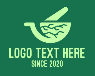 Mixing - Green Roots Mortar & Pestle logo design