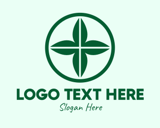 Aid - Green Leaf Cross logo design