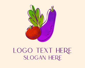 Eggplant - Violet Watercolor Fresh Vegetable logo design