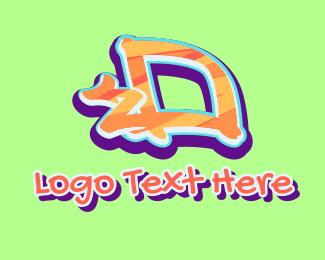 Tattoo Studio - Arrow Graffiti Art Letter D logo design