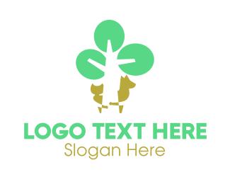 Play - Playing Tree Animals logo design