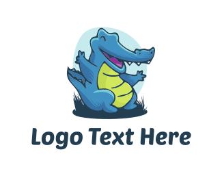 Swamp - Blue Alligator logo design