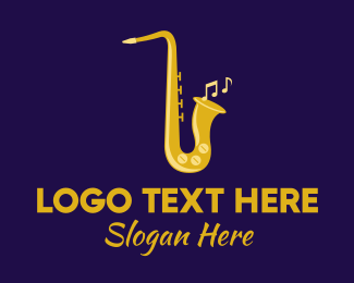Brass Instrument - Musical Gold Saxophone logo design