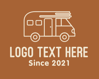 Driving - Minimalist Campervan logo design