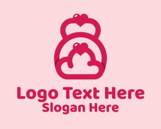 Dumbbells - Pink Heart Kettlebell logo design