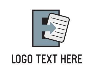 Send - Grey Letter E logo design