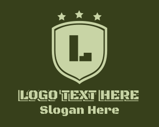 Force - Army Shield Lettermark logo design