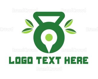 Kettlebell - Green Fitness App logo design