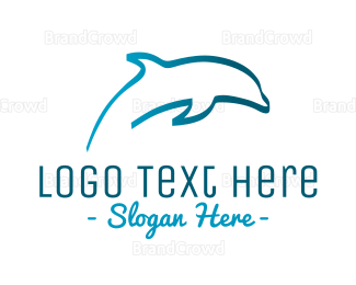Aquarium - Blue Dolphin logo design