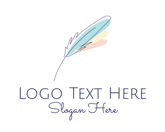 Screenwriter - Feather Quill Pen logo design