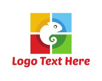 Iguana - Colorful Chameleon logo design