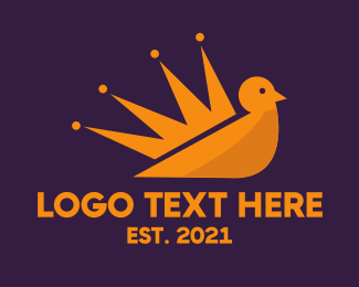 Gold Bird - King Bird Crown logo design
