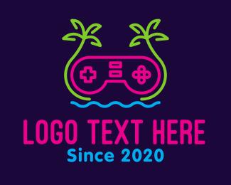 Game Console - Neon Beachside Gaming logo design