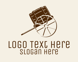Craft Brewery - Wood Barrel Cart  logo design
