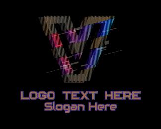 Gradient Glitch Letter V Logo