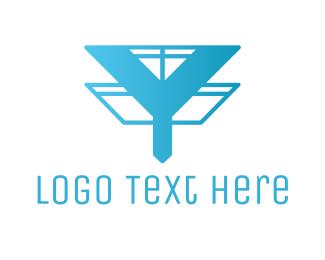Cable Service - Gradient Antenna Y logo design