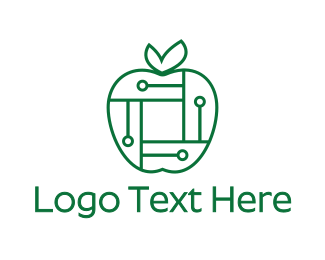 Green Apple - Digital Apple logo design