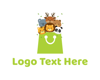 Shopping Bag - Cute Animals logo design