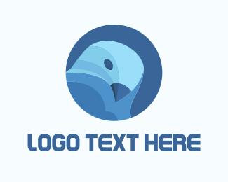 3d - Blue Circle Bird logo design