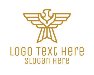 Gold Bird - Golden Eagle Emblem logo design