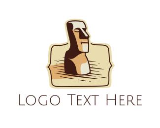 Hawaii - Wood Sculpture Bust logo design
