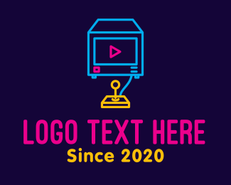 Game Stream - Neon Arcade Game Console logo design