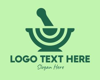 Traditional Medicine - Green Mortar & Pestle logo design