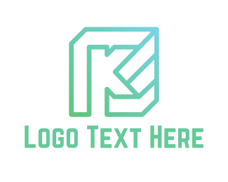 Teal - Mint K Cube logo design