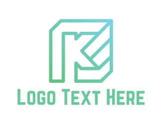 Letter K - Mint K Cube logo design