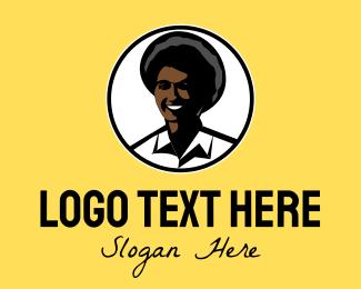 Working - Happy Afro Woman logo design