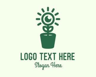 Pot Plant - Surveillance Eye Plant logo design