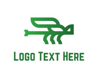 Dragonfly - Green Dragonfly logo design